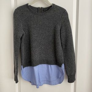 J. Crew Gray Layered Sweater with Blue Shirttail